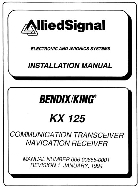Bendix    King Kx 125 Installation Manual From Aircraft Spruce
